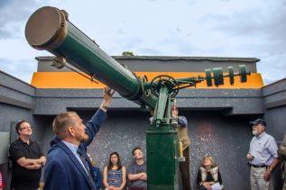 Shawn Laatsch Showing off the Clark Telescope